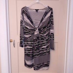ELLOS Knotted Dress/Tunic Gray/Black/White Geo L